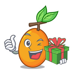 With gift ripe yellow plums on the tree cartoon vector