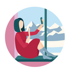 Woman sitting on a windowsill with smartphone vector