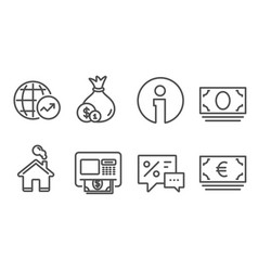 World statistics cash and atm icons cash money vector
