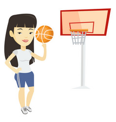 Young basketball player spinning ball vector