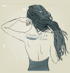 Young beautiful woman with tattoo vector