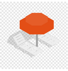 beach umbrella and two beach chairs isometric icon vector image