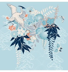 Japanese kimono motif with crane and flowers vector image