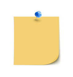 Note Paper with pin on white background vector image