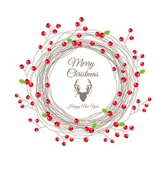 Red Berry Christmas Wreath for Happy new year card vector image