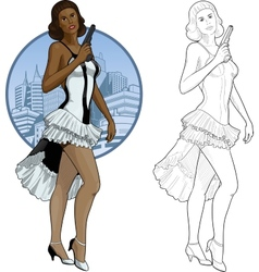 Retro brunette girl mixed race in white and black vector image