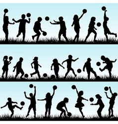 Set of children playing with balls outdoor vector image vector image