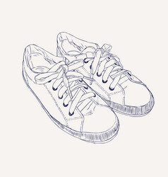 sneakers hand drawn sketch style vector image vector image