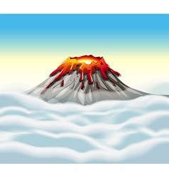 Volcano peak in the sky vector image