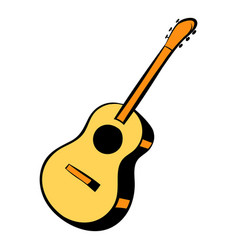 acoustic guitar icon cartoon vector image