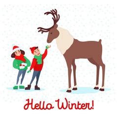 children feeding deer on winter holidays vector image