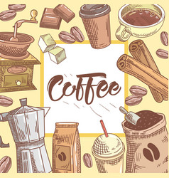 coffee hand drawn background with coffee cup vector image vector image