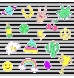 Happy fashion patches retro sweet badges with vector