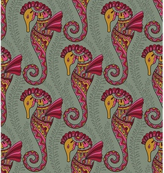 Seamless pattern of seahorses vector image vector image