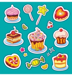 sweets stickers vector image vector image