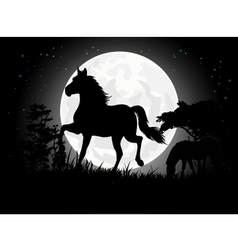 Horse silhouettes with giant moon background vector image vector image