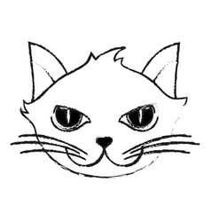 monochrome blurred silhouette of cartoon face cat vector image