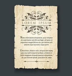 retro design elements on old paper sheet vector image