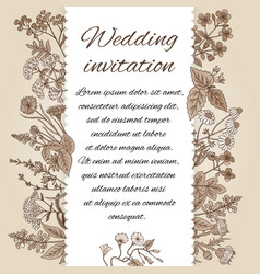 template of wedding invitation in vintage style vector image vector image