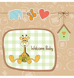 baby shower card with baby giraffe vector image