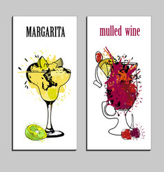 cocktails menu drawing tequila vector image vector image