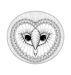 Coloring page with Owl head zentangle stylized vector image vector image