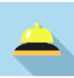Golden reception bell icon flat style vector image