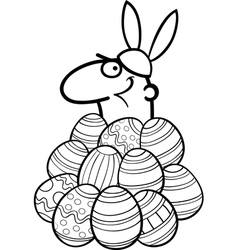man as easter bunny cartoon for coloring vector image