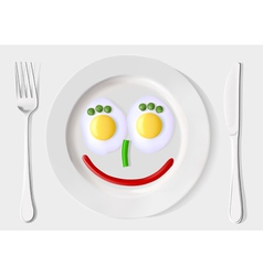A plate scrambled eggs and vegetables vector