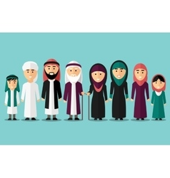 Arab family flat muslim characters vector