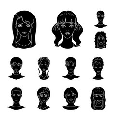 avatar and face black icons in set collection for vector image