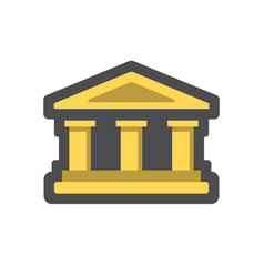 bank building house with columns cartoon vector image