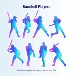 Baseball players geometric pack vector