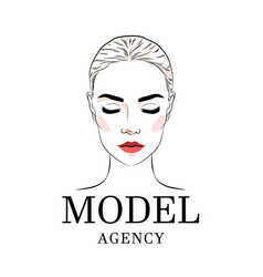 beautiful woman model academy logo banner or vector image
