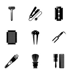 beauty salon stuff icons set simple style vector image vector image