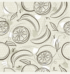 Beige seamless patterns with bananas oranges vector