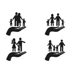 Black hand holding family icons set vector
