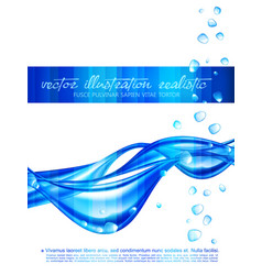 Blue abstract background with waves and vector