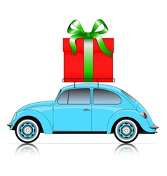 Blue car with present vector