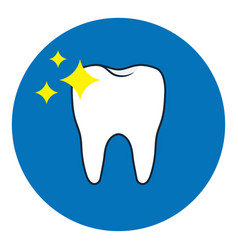 brilliant tooth icon oral dental hygiene vector image