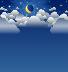 Calm moon and clouds scenery vector