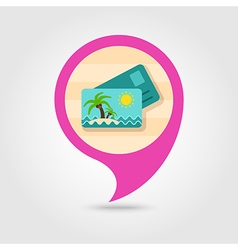 Card with palm pin map icon Summer Vacation vector image