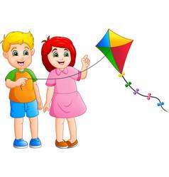 cartoon kids playing kites vector image