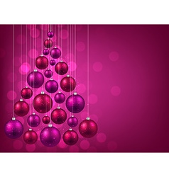 Christmas tree with purple christmas balls vector