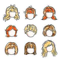 collection of cute girls faces human head flat vector image