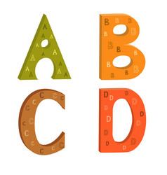colored letters of the latin alphabet with a vector image