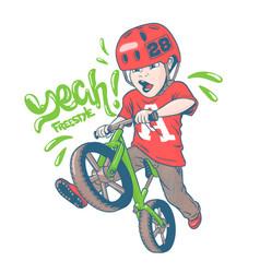 Cool kid on balance bike vector