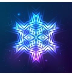 Cosmic shining abstract snowflake vector image