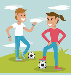 Couple kids practicing soccer sport vector