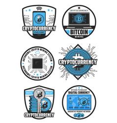 Cryptocurrency mining bitcoin digital blockchain vector